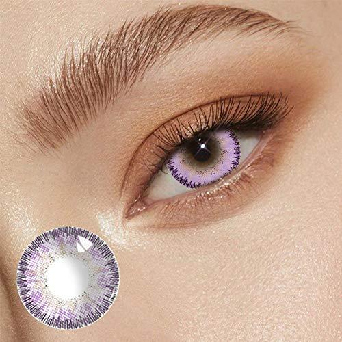 BHUJYG Lentes de Contacto, 2pcs / Pair Ángel Azul Hielo Lentes de Contacto coloreadas Cosplay Hermosa pupila de Halloween para Chicas Maquillaje Occidental Natural Eyes,Purpl