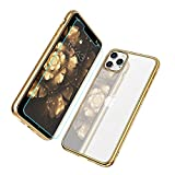 MILPROX iPhone 11 Pro Max Case, Clear Transparent Shockproof Shell Free Screen Protector with Electroplated Edge Cover Cases for iPhone 11 Pro Max 6.5 Inch - Gold