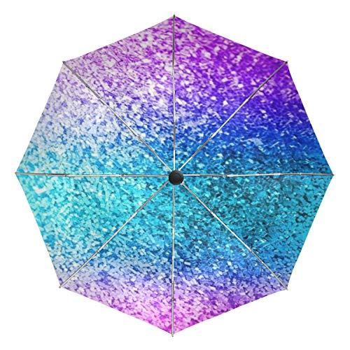 Wamika Regenschirm mit Glitzer, automatisch, glitzernd, Blau, Winddicht, wasserdicht, UV-Schutz, Reise-Regenschirm, 3 Falten, automatisches Öffnen/Schließen, für Sonne und Regen