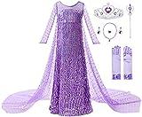 JerrisApparel Fiesta Maxi Vestido de Princesa niña Disfraz Cosplay con Diamante (130, Morado con Accesorios)