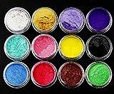 ILOVEDIY 12 Farben Glitter Pulver Seife Farbstoff Glimmer Pulver Pigment Lidschatten Lipgloss...