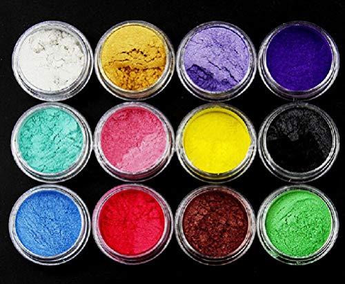 ILOVEDIY 12 Farben Glitter Pulver Seife Farbstoff Glimmer Pulver Pigment Lidschatten Lipgloss Gesicht Nail Art Nagellack Pigment Pulver Herstellung Farbstoff Set