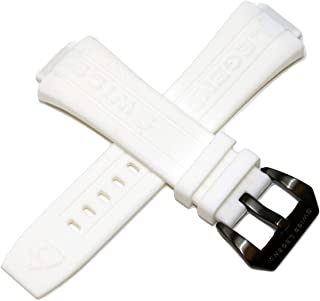 Swiss Legend 28MM White Silicone Watch Strap Gunmetal Stainless Steel Buckle fits 44mm Trimix Diver Watch