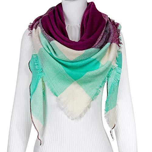 Moda otoño cálido bufanda mujer bufanda manta a cuadrosnuevogrueso mujer triángulo chales y bufandas de punto