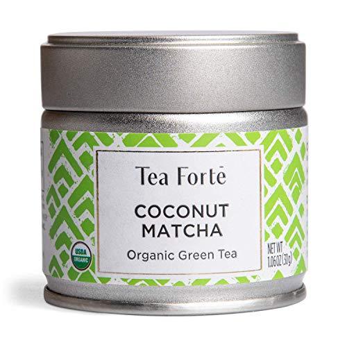 Tea Forte Organic Matcha Green Tea Powder, For Hot or Cold Matcha Tea or Latte 1.06 oz Canister (12 Servings), Coconut Matcha