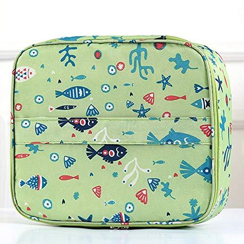 Qaoping Portátil Bolsa de Cosméticos-Blue Flamingo (Color : Green Fish)