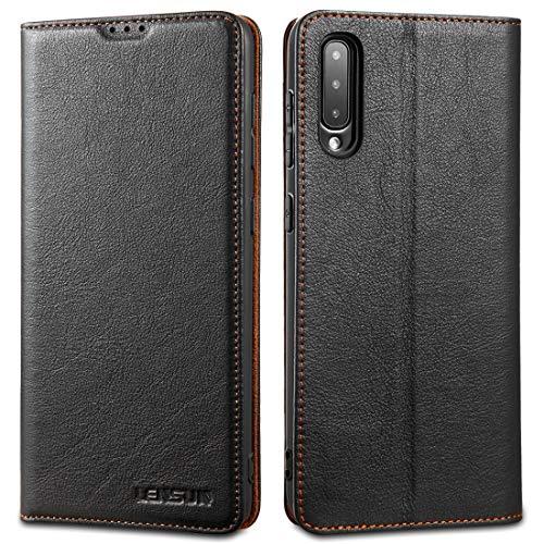 LENSUN Funda Samsung Galaxy A50/A30S/A50S con Tapa, Funda de Cuero Genuino con Cierre Magnético y Ranuras para Tarjetas Carcasa Libro Protección para Teléfono Samsung A50/A30S/A50S - Negro (A50-DC-BK)