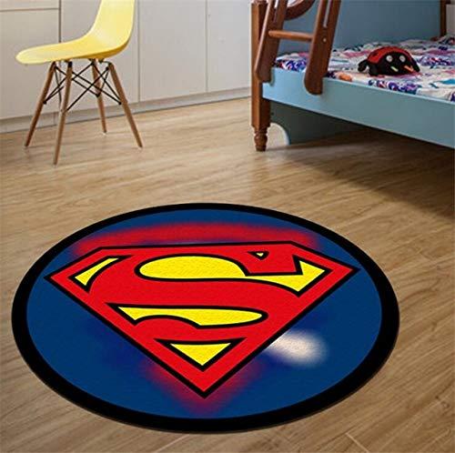 Yqs Alfombra Redonda Alfombra Redonda Batman Superman Impreso Soft Alfombras Antideslizante Alfombras Silla de la computadora Superhero Mat Estera del Piso (Color : B, Size : Diameter 60cm)