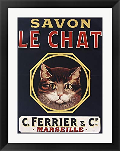 Savon Le Chat Black by Vintage Apple Collection Framed Art Print Wall Picture, Black Flat Frame, 29 x 36 inches