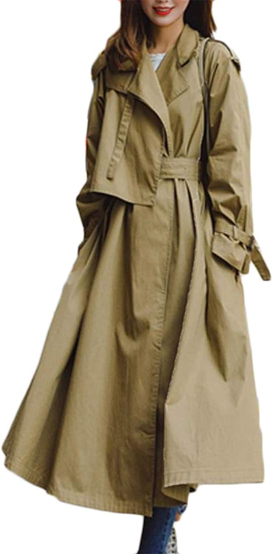 P&E Womens Lapel Classical Outdoors Windbreaker Autumn Winter Poncho Trench Coat
