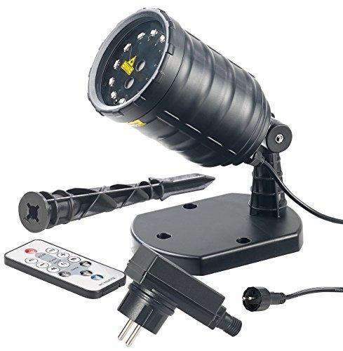 Lunartec Weihnachtslaser Haus: Laser-Projektor mit 12 LEDs, 8 Licht-Effekte, Timer, Fernbed, IP65 (Laserstrahler)