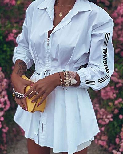 Vestido de Mujer Vestido de Camisa Blanca con Estampado de Letras para Mujer, Fiesta de Moda callejera, Elegante, Cuello