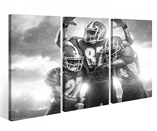 Leinwandbild 3 Tlg. American Football Touchdown Sport Leinwand Bild Bilder Holz fertig gerahmt 9P772, 3 tlg BxH:120x80cm (3Stk 40x 80cm)