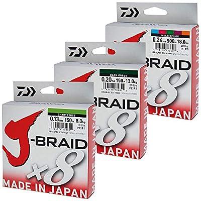Daiwa J-Braid 8 Braid 300m dark green - Round braided fishing line by Daiwa