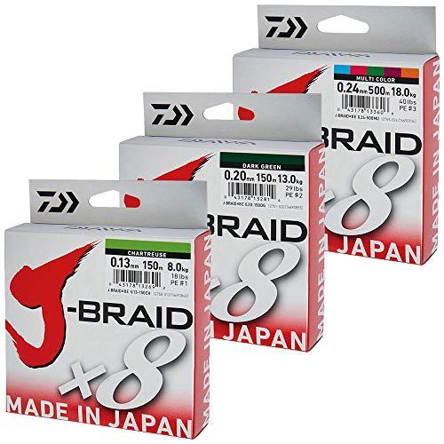 Daiwa J-Braid 8 Braid 0.13mm, 8.0kg / 18.0lbs, 300m dunkelgrün, rund geflochtene Angelschnur
