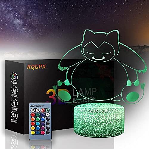 Pokemon 3D ilusión lámpara LED noche luz Cricket regalos 16 colores cambio automático interruptor táctil decoración escritorio