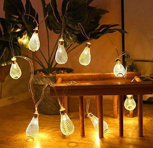 Geometric String Lights, 3M 20 LEDs Diamond Fairy String Lights Geometric Rose Gold Metal Fairy Lights Battery for Christmas Home (C)