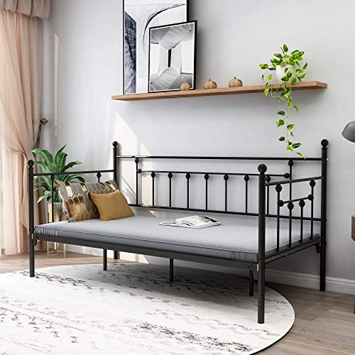 Zoophyter Metal Daybed Frame Twin Size with Steel Slats Platform Furniture,Black