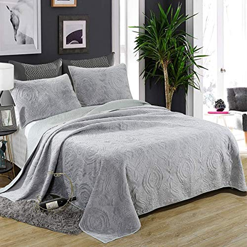 Siunwdiy Quilted Bedspread Bed Throw 100% cotton quilted bed Blanket Throw, double king size bedspread Gray bedroom, Short quilt in the plush design,224 * 234cm
