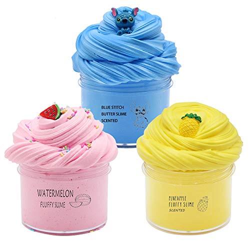 SIMUR Paquete de 3 Kits de Limo de Mantequilla y amuletos, Limo de Nube perfumado, Limo de piña de Color Amarillo, Limo de sandía Rosa, Limo Azul, Arcilla Suave y no pegajosa