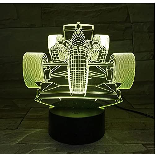 Decoración de coche de carreras 3D Luz de noche LED 7 Cambio de color Luz de noche de noche Iluminación interior de decoración