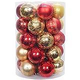 YILEEY Adornos de Navidad Decoracion 35 Piezas Dorado y Rojo, Arboles de Navidad Bolas de Plastico, en 8 Tipos, Caja de Bolas de Navidad de Plástico Inastillable con Percha, Adornos Decorativos