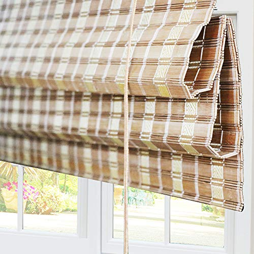 Bamboo Roman Window Shades Blinds, 20W x 36H Inches, Light Filtering UV Protection RollUp RollerShadeswithValance for Windows, Kitchen, Doors, Porch, Color 2