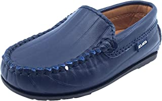 Boy's and Girl's Leather Embossed Stripe Loafers