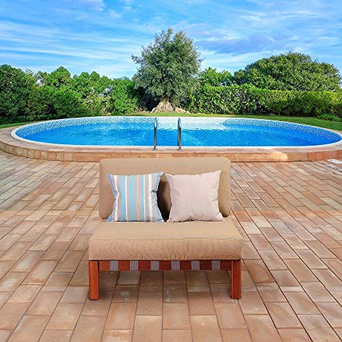 Unknown1 1-Piece Outdoor Conversation Set Eucalyptus Patio Furniture with Khaki Cushions Brown Traditional