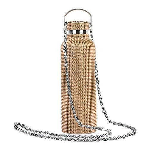 Leadrop - Borraccia per acqua, in acciaio INOX, con catena, 30 ml, con chiusura in finto diamante di grande capacità, capacità in acciaio inox, con catena, 750 ml, colore: oro