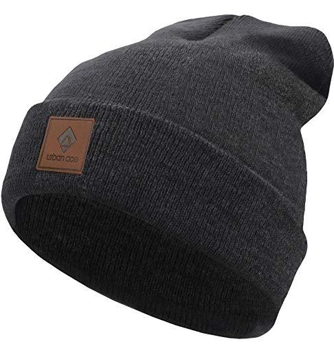 urban ace | Street Classics | Beanie, Mütze, mit Lederpatch | Damen, Herren | für das ganze Jahr, weicher Stoff (Charcoal)