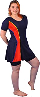 Polyester Short Sleeves Swimwear Dress With Shorts For Women - with Red Stripe code 471