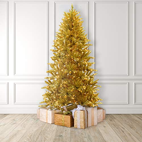MARTHA STEWART Tinsel Pre-Lit Artificial Christmas Tree, 7 Feet, Gold