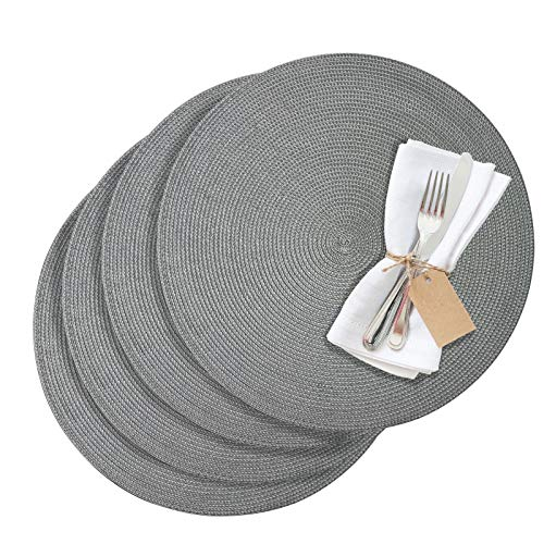 Westmark Tischsets/Platzsets, 4 Stück, Ø 38 cm, Polypropylen, Grau, Saleen Edition: Circle