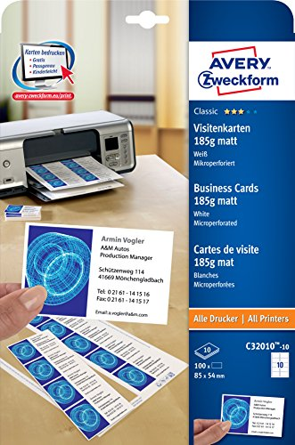 AVERY Zweckform C32010-10 Classic Visitenkarten (100 Stück, 85 x 54 mm, beidseitig bedruckbar, matt, 10 Blatt)