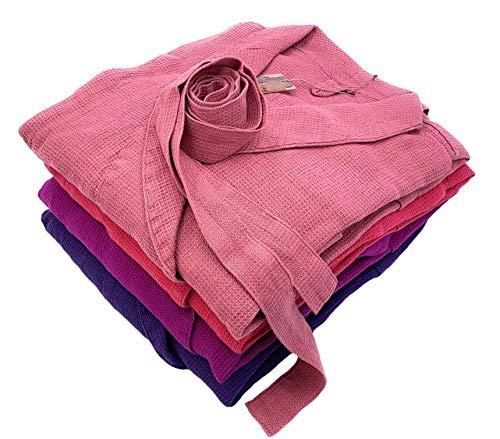 Jowollina Unisex badjas ochtendjas, katoenmix, linnenmix, antiek roze, L/XL