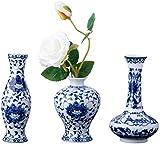 Nother Juego clsico de jarrones de porcelana azul y blanco, juego de 3 jarrones pequeos de cermica para decoracin del hogar, jarrones chinos (porcelana azul y blanca)
