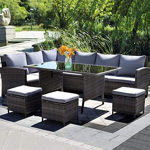 Harrier Rattan Corner Sofa & Patio Dining Table Set (6 Piece) - Luxury Garden Furniture | Grey Indoor Outdoor Conservatory & Patio Set