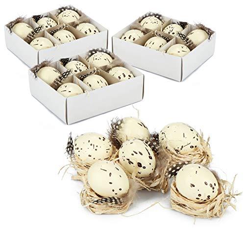 com-four 24x Uova di Pasqua in plastica con Decoro - Decoro Pasquale a Uovo di quaglia con Piume ed Erba - Uova di plastica per Decoro Pasquale