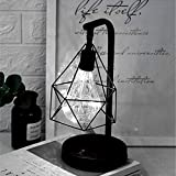 Retro Metal Table Lamp,WONFAST Hollow Diamond Shape Vintage Edison Bulb Copper Wire Reading Lamp Battery Operated BedsideNight Lights for Bedroom Office Wedding Party Christmas Decoration (White)