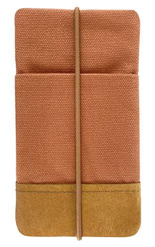 Kuratist Handytasche - Kompatibel mit iPhone 12 Mini/SE 2020/8/7/6s/6 - Handgemacht aus Premium Baumwolle und Papier-Latex - 100% vegan - Uni Coral