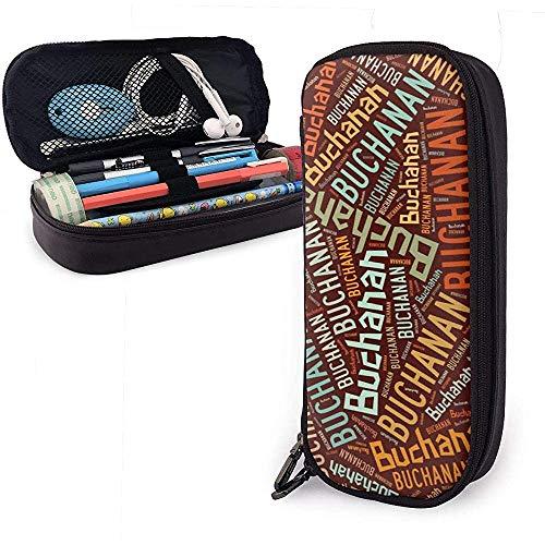 Buchanan - Estuche de lápices de cuero americano de alta capacidad, soporte para papelería, estuche grande, estuche portátil, bolsa de cosméticos portátil