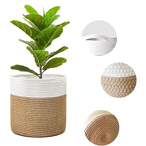 Cesta de lavandería de algodón de 30 * 30 cm, cestas de almacenamiento de cestas redondas tejidas, utilizadas como cesto de lavandería, cesta de almacenamiento de juguetes, maceta, caqui con blanco