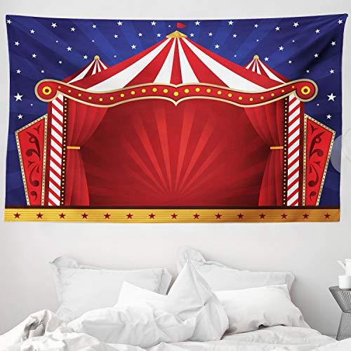 ABAKUHAUS Zirkus Wandteppich & Tagesdecke, Canvas Circus Tent Art, aus Weiches Mikrofaser Stoff Wand Dekoration Für Schlafzimmer, 230 x 140 cm, Blau Zinnoberrot