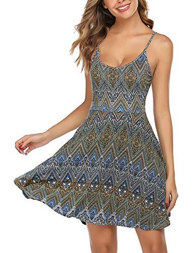 Unibelle zomer stand Swing mouwloos, zomerjurk negatieve mini-jurk verstelbare riem Midi jurk bloemen bonte kleuren S-XXL