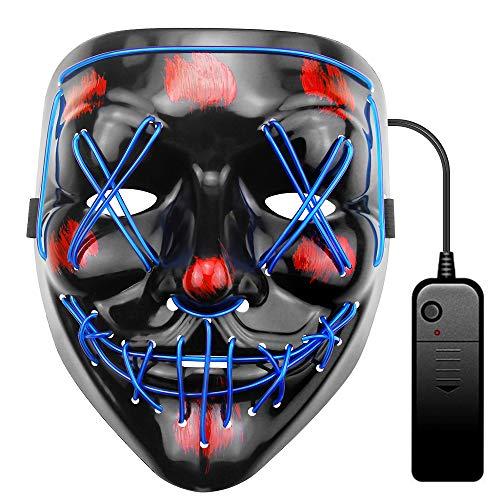 ALITOVE Maschera per Halloween a LED blu Light Wire Cosplay Maschera Purge Mask per Halloween Festival Cosplay Halloween Costume Halloween