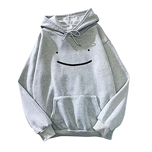FMYONF Sudadera con capucha para mujer con diseño de caricatura kawaii, manga larga, para adolescentes, otoño e invierno, gris, XL