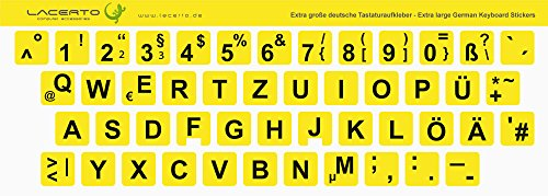 Lacerto® | 13x13mm, extra große Zeichen, deutsche Tastaturaufkleber für Sehbehinderte und Senioren, mit mattem Schutzlaminat, Farbe: Gelb