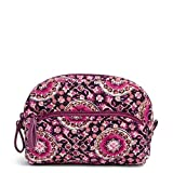 Vera Bradley Women's Signature Cotton Mini Cosmetic Makeup Bag, Raspberry Medallion, One Size
