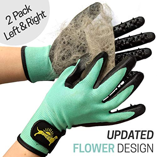 Sunny Tails [2020 Flower Design Grooming Glove Hair Removal Mitt - Deshedder for Cats, Dogs, Horses, Goats and More (Teal)